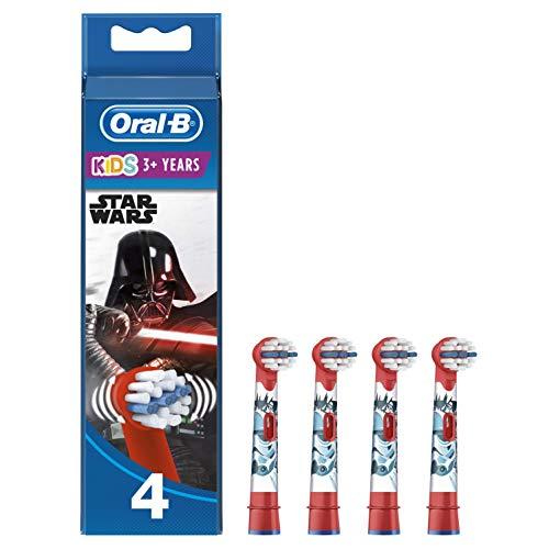 Oral-B Kids Cabezales de Recambio para Niños Mayores de 3 Años, Pack de 4 Recambios Originales con Personajes de Star Wars para Cepillos de Dientes Eléctricos