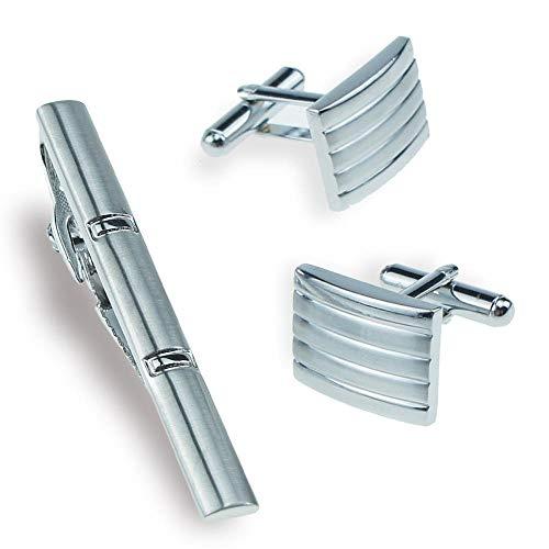 Manschettenknöpfe Cufflinks Herren Silber gestreifte Manschettenknöpfe Cufflinks Krawattenklammer Set Business West Accessoires