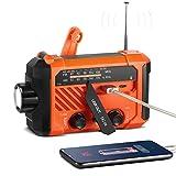 ThorFire Emergency Hand Crank AM/FM NOAA Weather Radio Hurricane Supplies IPX6 Waterproof Solar Portable Survival Radio with SOS Alarm 120Lm LED Flashlight/Reading Lamp 2000mAh Power Bank-Orange