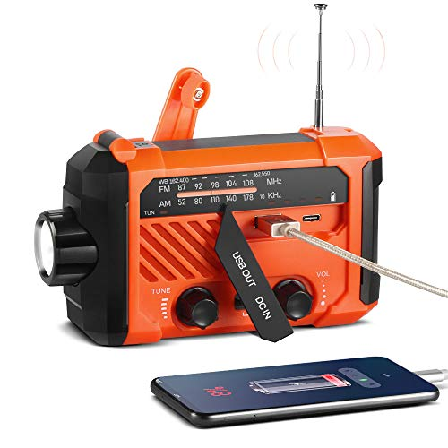 ThorFire Emergency Hand Crank AM/FM NOAA Weather Radio Hurricane Supplies IPX6 Waterproof Solar Portable Survival Radio with SOS Alarm 120Lm LED Flashlight/Reading Lamp 2000mAh Power Bank-Orange