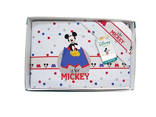 Disney Parure de lit 3 pièces pour enfant 100 % coton, Mickey et Minnie (Mickey)