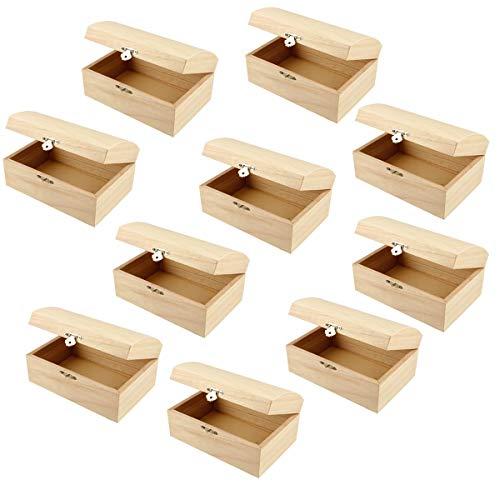 YooKreativ Sparpack ❗ Holztruhe, 10 Stück, mit gewölbtem Deckel und Metall-Klappverschluß. PREISHIT 🔥