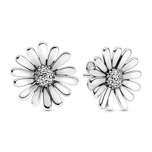 ZHANGCHEN Pendientes de botón de corazón de Flor de Margarita de Plata de Ley 925 para Mujer, Pendiente de Moda, joyería de Plata, Regalo
