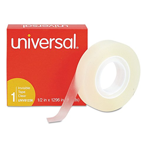Universal 81236VP Invisible Tape, 1/2-Inch x 1296-Inch, 1-Inch Core, Clear, 12/Pack