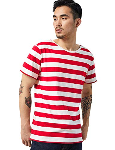 Striped T Shirt for Men Sailor Tee Horizontal Stripes Halloween Costume Red M