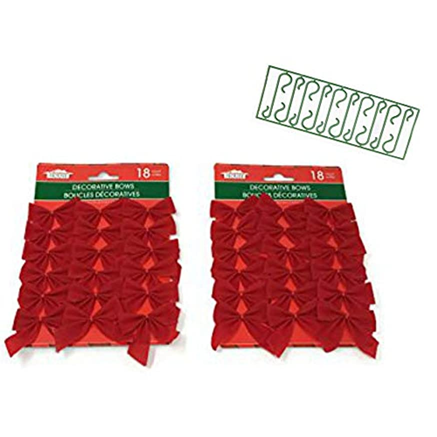 Red Decorative Christmas Bows 36 Count 2.5in x 3in and Christmas Decoration Hooks 10 Count