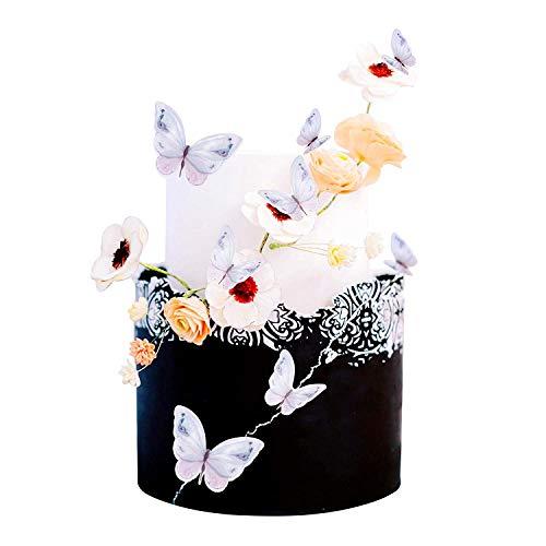Svnaokr Decoración para cupcakes con diseño de mariposa en 3D para niñas y mujeres, todo lo mejor para cumpleaños, bodas, tartas, fiestas, decoración de pared (tinta)