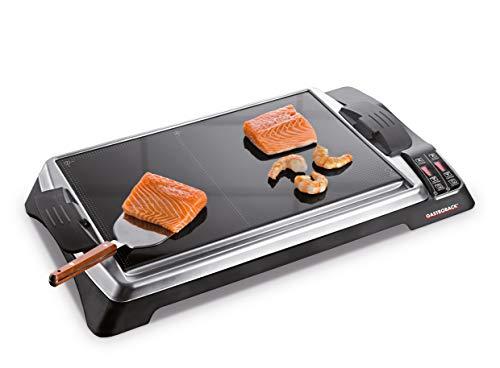 Gastroback 42535 Teppanyaki, Tischgrill, Ceran, Keramik-Grill, 1.280 Watt (2 x 640 W), Warmhaltefunktion, Grillfläche 165 x 250 mm, 60° C bis 300° C maximal, Glas, schwarz