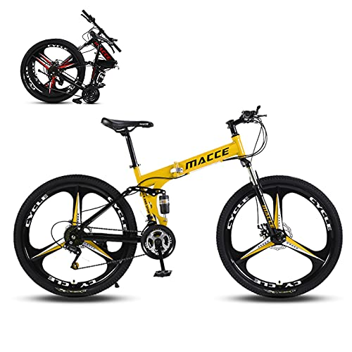 Hyhome Bicicletas de montaña plegables para adultos, 26 pulgadas, 3 radios ruedas 27 velocidades, bicicleta de montaña de doble disco para hombres y mujeres (amarillo)