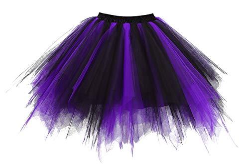 GOOBGS Musever 1950s Vintage Ballet Bubble Skirt Tulle Petticoat Puffy Tutu Black/Purple Large/X-Large
