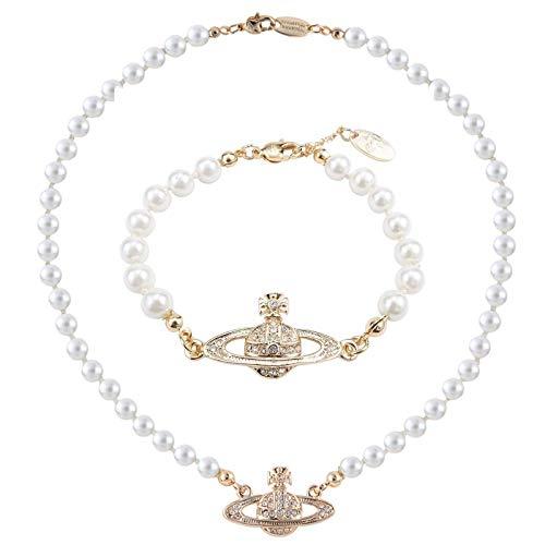 Set di collana di perle di Saturna in argento dorato con perle di strass e pietre di cristallo e lega, colore: oro