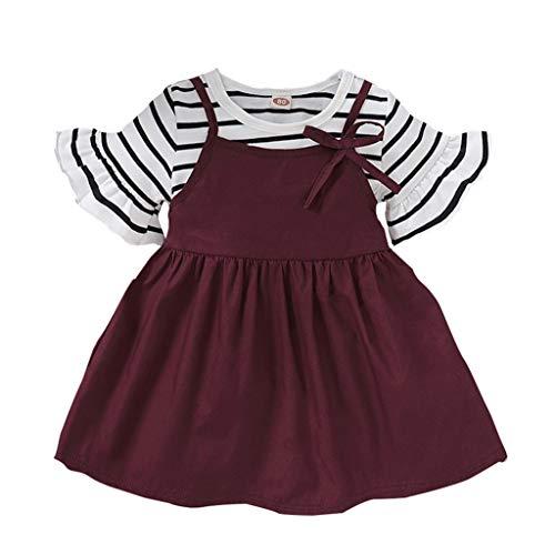 Kleinkind Baby Trägerkleid AnzugTrägerkleid Anzug Freizeitkleid BekleidungssetFackelhülse Gestreifte Kurzarm T-Shirts Tops + Einfarbig Strapsröcke Outfits Set, Rot, 3-4 Jahre