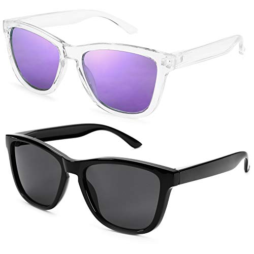 Braylenz 2 Pack Polarized Sports Sunglasses for Men and Women, 100% UV Protection Driving Sun Glasses (Transparent/Purple Mirrored Lens + Black)