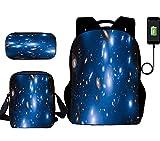 Mochilas Escolares Impresas En 3D Niños/Niñas/Adolescentes/Mochila Escolar Set 3 En 1 + Fiambrera + Estuche para Bolígrafo Cielo Galaxia con Puerto De Carga USB Mochila Informal