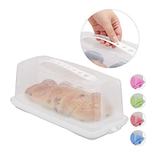Relaxdays Kuchenbox eckig, Tragegriff, mit Deckel, für Kastenkuchen, Kuchenbutler, HBT 15 x 37 x 16 cm, weiß/transparent
