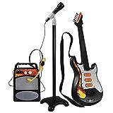 Instrumentos de cuerda para niños Juguete de guitarra eléctrica para niños, 3 unids Simulación de niños Sistema de guitarra Instrumentos musicales Juguete con soporte Micrófono y altavoz (color: -, Ta