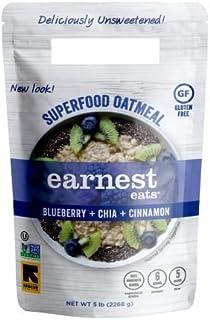 Earnest Eats Gluten Free Allergen Friendly Superfood Oatmeal - Blueberry+ Chia + Cinnamon, 5 lb Family Size-No Sugar Added!