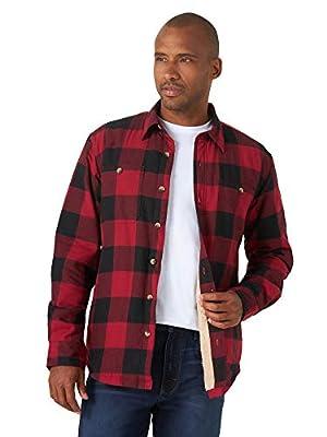 Wrangler Authentics Men's Long Sleeve Sherpa Lined Shirt Jacket, Red Buffalo, Medium