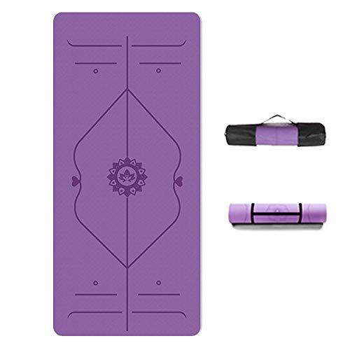 Colchonetas De Yoga Antideslizantes Colchonetas De Ejercicios para Ejercicios Físicos con Correas Y Bolsas De Gimnasia (Color : Purple(Thickness 0.3 Width 31.5in))