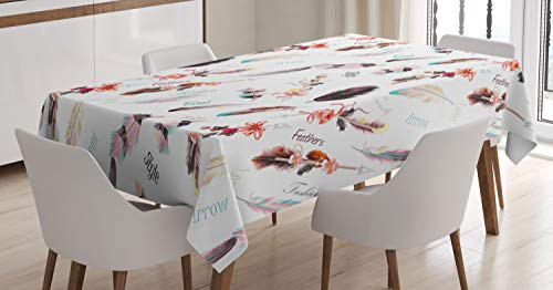 Ambesonne Bohemian Tablecloth, Fashion Illustration Feathers with Floral Details and Ribbons Vintage Style, Rectangular Table Cover for Dining Room Kitchen Decor, 60' X 84', Grey Yellow