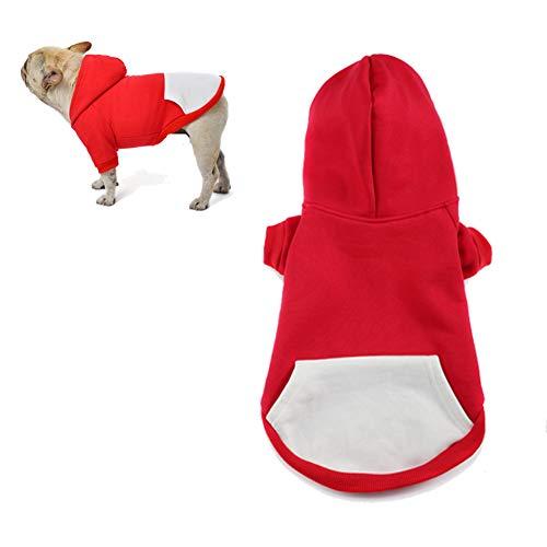 meioro Hunde Kapuzenpullis Warm Hundebekleidung Reißverschluss Hundekleidung Nette Haustier Hoodies (XXL, Rot)