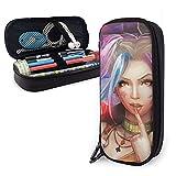 Trousse à crayons en cuir Harley Quinn - Trousse de bureau portable - Boîte de rangement pour produits cosmétiques
