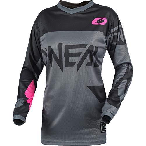 O\'NEAL | Motocross-Shirt Langarm | MTB MX Mountainbike | Gepolsterter Ellbogenschutz, Atmungsaktiv, V-Ausschnitt | Women\'s Element Jersey Racewear | Damen | Grau Pink | Größe XL