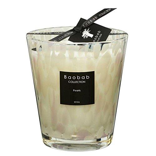 Baobab Max 16 Pearls White Kerze, Kerzenwachs, 16cm, 16x10x16 cm