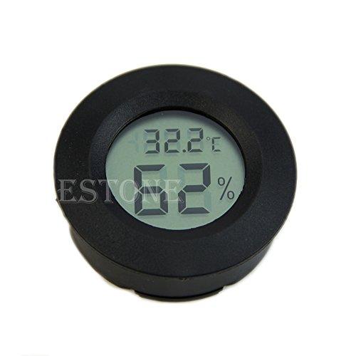 Landum Digitaler Zigarrenbefeuchter,  Thermometer mit rundem Zifferblatt, Schwarz