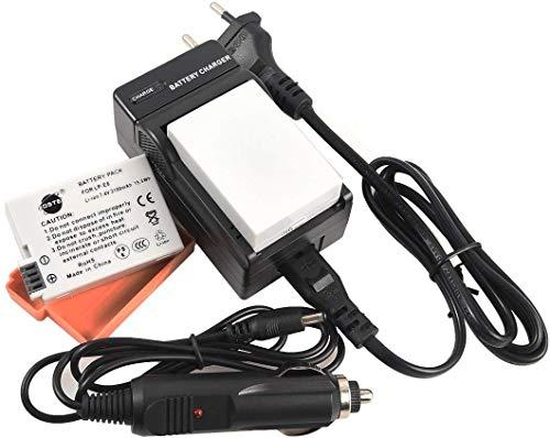 DSTE® 2Pack batería de repuesto y dc99e Cargador de viaje Compatible para Canon LP-E8EOS 550d 600d 650d 700d Kiss X4, Kiss X5Kiss X6i X7iLCD-Bildschirmschutzfolie Rebel T3i T4i T5i Digital Cámara