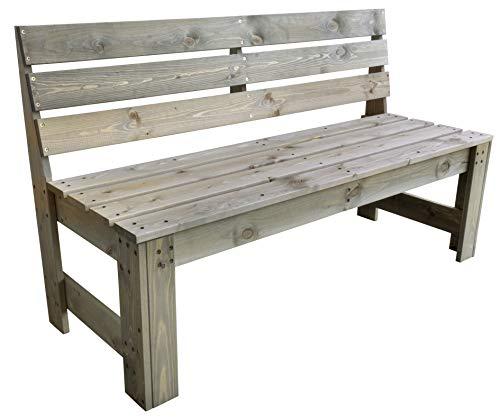 Trendyshop365 Garten-Bank Massivholz Kiefern-Holz 140cm Vorbehandelt FSC Grau Holzbank Sitzbank 3 Sitzer