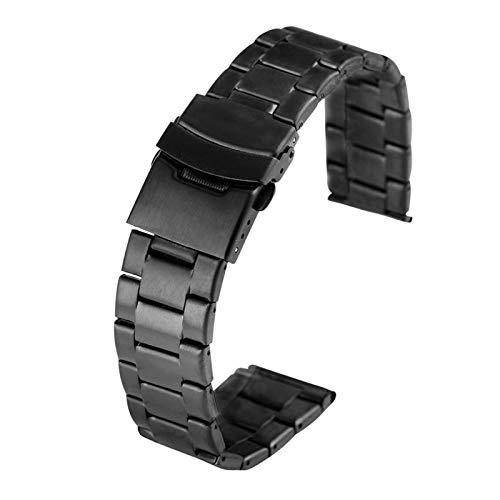Youdert Uhrband 2 Uhr 0MM 22MM.Black Edelstahl Watch Gürtel Herren-und Frauen-Premium-Armband-Firmband-Armband-Brackband (Color : Black, Size : 22mm)