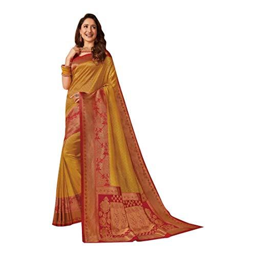 Senf Indische Bollywood Designer Hochzeit Party tragen ausgefallene Seide Weben Arbeit Sari Bluse traditioneller Look Frauen Saree Choli 9311