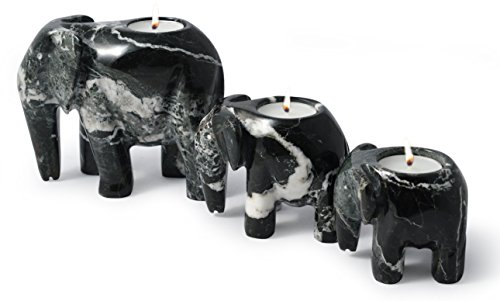 British Fossils Himalayan Marble Elephant Tea Light Holder Set (Black Marble Father, Mother & Baby)