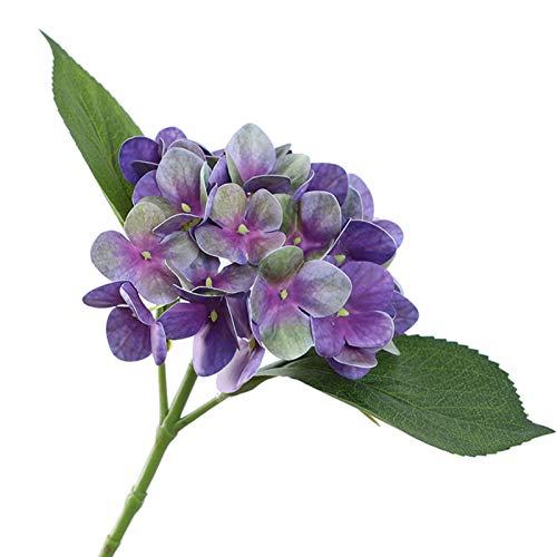 porfeet Flor artificial Hortensias 3D de plástico sintético de flores secas floras plantas, adorno para exhibición de balcón, sala de bodas, balcón, decoración de jardín, color morado oscuro