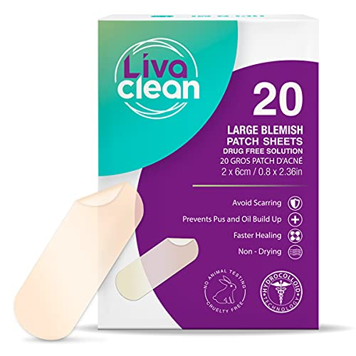 (20 Count) LivaClean Pimple Patches - Spot Treatment - For Large Spots and Breakouts - Absorbs Oil, Covers Scars and Blemishes - Zit Sticker Facial Skin Care Products, Easy-Peeling, and Transparent