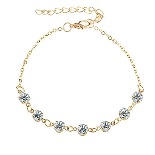 PULABO Crystal Anklet Chain Beach Pendant Anklet Jewelry,Gold Superior Quality and Creativesecurity