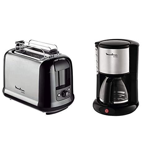 Moulinex LT2618 Toaster Subito, edelstahl/schwarz & FG360811 Glas-Kaffeemaschine Subito edelstahl Matt
