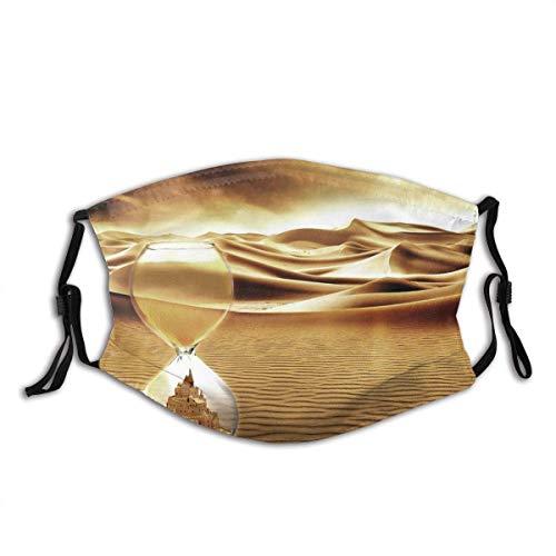 Gesichtsschutz Mundschutz Wüstenlandschaft Surrealismus Fantasie Sanduhr Sandburg Zeit Sturmhaube Mund Bandanas Halsmanschette mit 2 Filtern