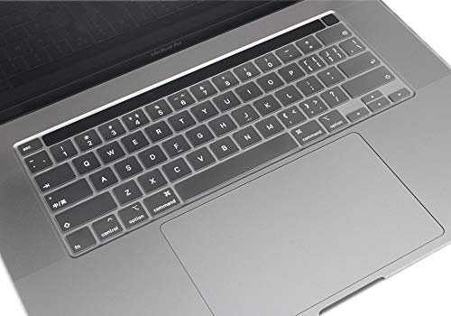 Se7enline 2020 MacBook Pro 13 inch & MacBook Pro 16 inch Keyboard Cover 2019-2020 Silicone Skin Protector for MacBook Pro Model A2141/A2289/A2338/A2251 Touch Bar Touch ID US Layout, Frost Transparent