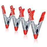 Lanzeuta 4pcs 4 Inch Red Metal Spring Clamps, Heavy Duty Clips with PVC Coated Tips & Handles for Gluing, Clamping & Securing