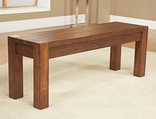 Modus Furniture Meadow Solid Wood Bench, Brick Brown