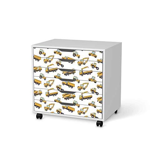 creatisto Kinder Möbel-Tattoo - passend für IKEA Alex Rollcontainer 6 Schubladen I Tolle Kinderzimmer Einrichtung - Möbelsticker für Kinder- und Babyzimmer I Design: Working Cars