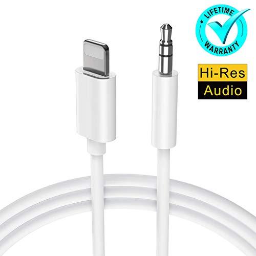 para iPhone Cable AUX Adaptador Auriculares Jack Estéreo de 3,5 mm de Cable Reproductores de MP3 Cable para Automóvil Hembra para iPhone 6/X/XS Max/XR/8/8P/7Plus Soporte Todo iOS Blanco (3.3 Pies)