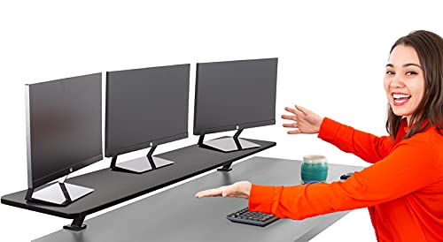 Stand Steady 55 Inch Clamp On Desk Shelf   Large Monitor Riser Supports 3 Screens for Extra Storage   Ergonomic Monitor Stand Securely Attaches to Surface with Clamp Base - No Screws (55 in/Black)