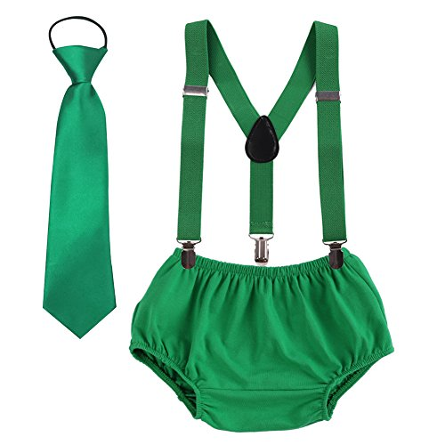 1st Birthday Cake Smash Outfits Baby Boy Suspender Nappy Cover Bloomers Necktie 3PCS Set Photography Props Photo Shoot Green
