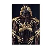 QIAOO Arte de Lienzo de Moda, Arte Africano, Pintura de Hombre de Oro Negro, Carteles e Impresiones artísticos de Pared Modernos, Cuadros de decoración de la Pared de la Sala de Estar, sin Marco