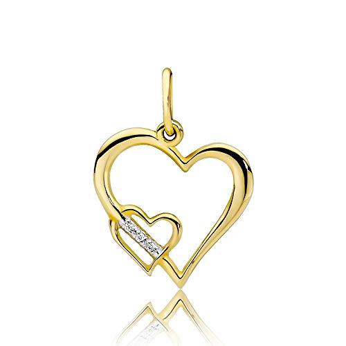 Colgante mujer Zlocisto en forma de corazón Muestra de oro amarillo u oro blanco 585, con diamantes talla brillante de 0,015 ct Joyas de oro atemporales y elegantes en una caja de alta calidad