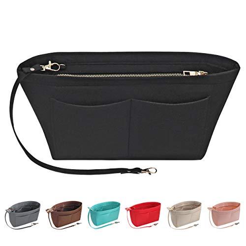 Soyizom Organizzatore per borsa in feltro in feltro Organizer per borsa in feltro Organizzatore per borsa Organizer multi-tasca per borsa da donna (nero, grande)