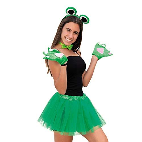Oblique Unique® Sexy Frosch Kostüm Accessoire Set für Damen mit Frosch Augen Haarreif + Frosch Handschuhe + Fliege für Fasching Karneval Motto Party Grün